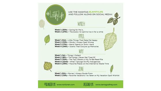 #ListifyLife Spring Challenge – Week 3