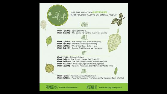 #ListifyLife Spring Challenge – Week 3